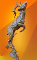 MAGNIFICENT BRONZE LEAPING STAG , BRONZE STATUE